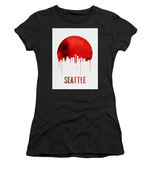 Seattle Skyline Red Women's T-Shirt