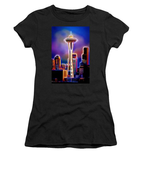 Women's T-Shirt (Athletic Fit) featuring the photograph Seattle Space Needle 1 by Aaron Berg