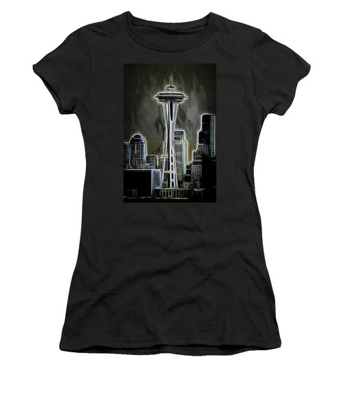 Women's T-Shirt (Athletic Fit) featuring the photograph Seattle Space Needle 2 by Aaron Berg