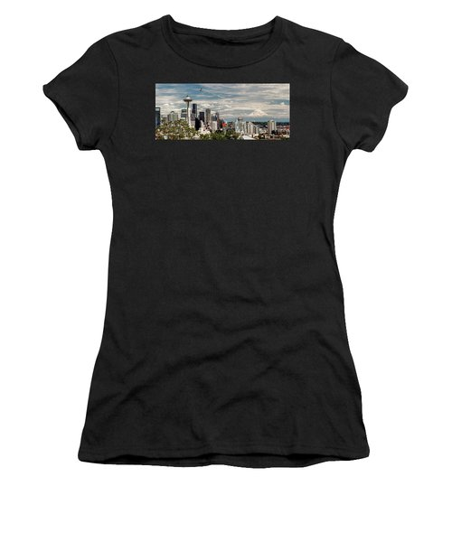 Seattle Space Needle With Mt. Rainier Women's T-Shirt (Athletic Fit)