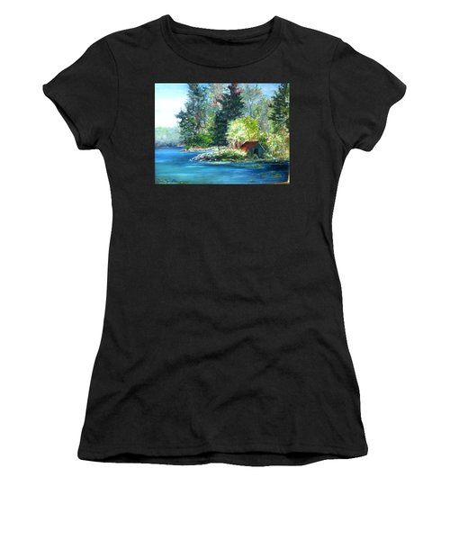 Secluded Boathouse-millsite Lake  Women's T-Shirt