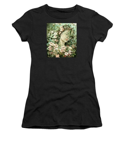Self Portrait With Aplle Flowers Women's T-Shirt (Athletic Fit)