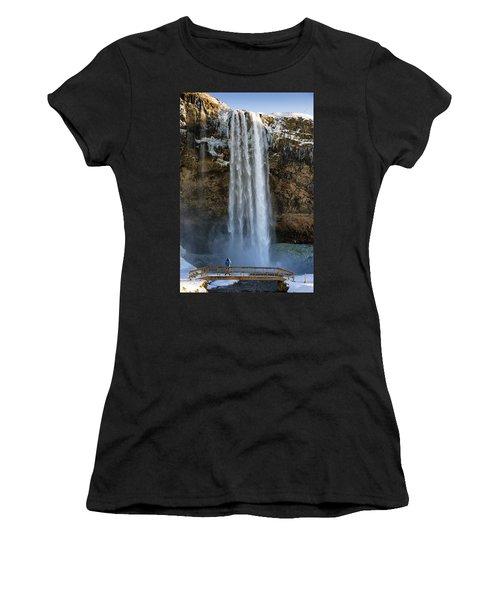 Women's T-Shirt (Junior Cut) featuring the photograph Seljalandsfoss Waterfall Iceland Europe by Matthias Hauser