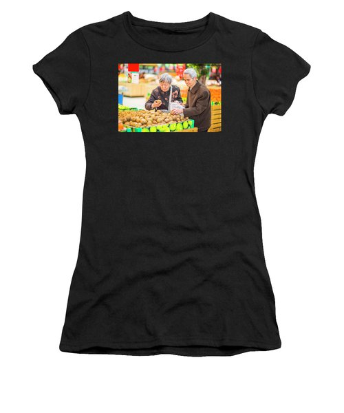 Senior Man And Woman Shopping Fruit Women's T-Shirt