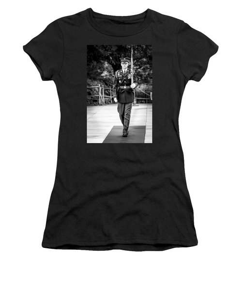 Women's T-Shirt (Athletic Fit) featuring the photograph Sentinel At The Tomb Of The Unknowns by David Morefield