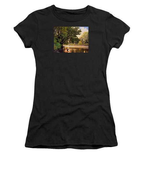September Dawn, Little Sioux River - Studio Painting Women's T-Shirt (Athletic Fit)