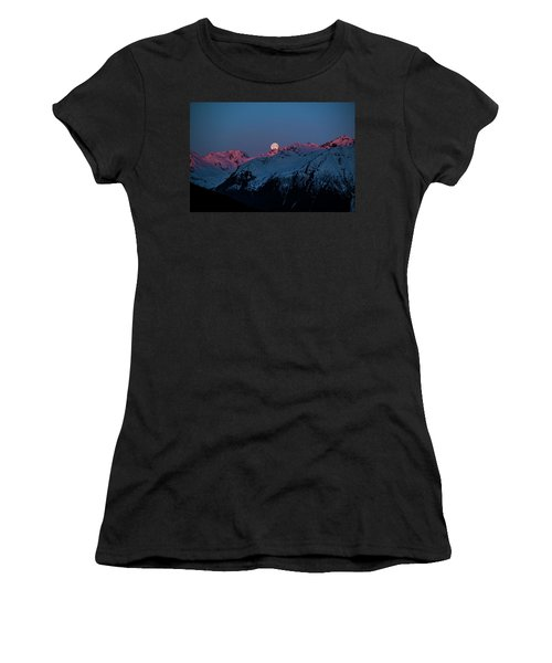 Setting Moon Over Alaskan Peaks Iv Women's T-Shirt