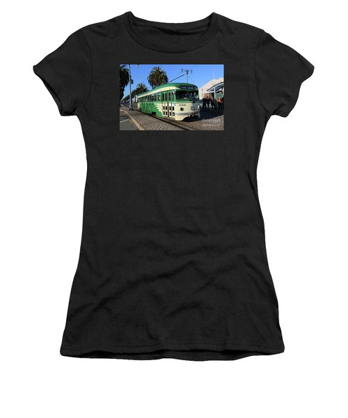 Women's T-Shirt (Junior Cut) featuring the photograph Sf Muni Railway Trolley Number 1006 by Steven Spak