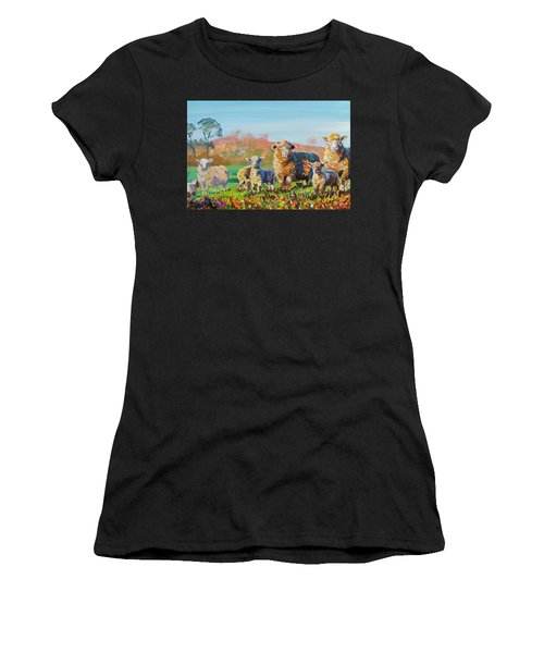 Sheep And Lambs In Devon Landscape Bright Colors Women's T-Shirt