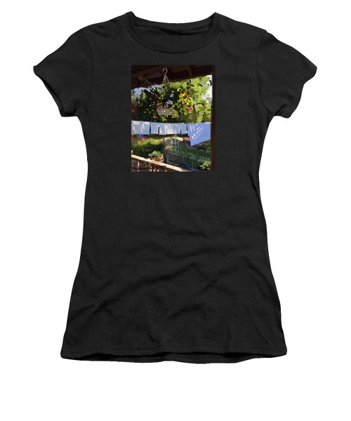 Sheets And Pillow Cases On The Line With Lantana Flowers Women's T-Shirt (Athletic Fit)