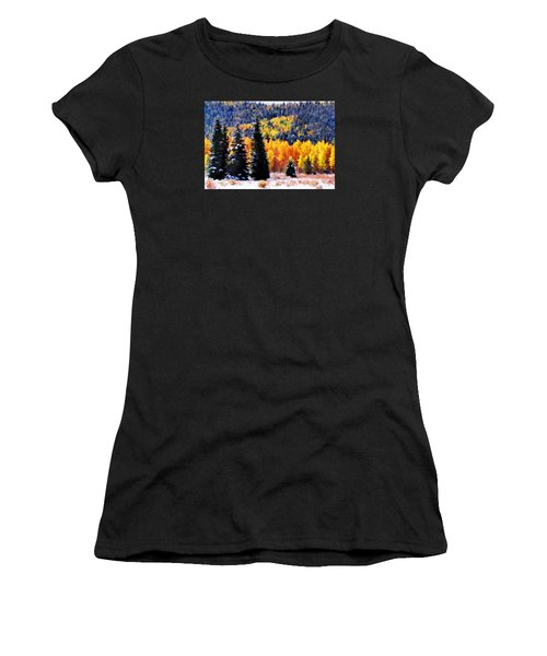 Women's T-Shirt (Junior Cut) featuring the photograph Shivering Pines In Autumn by Diane Alexander
