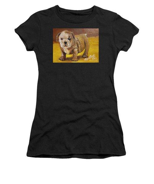 Chloe The   Flying Lamb Productions      Shortstop The English Bulldog Pup Women's T-Shirt (Athletic Fit)