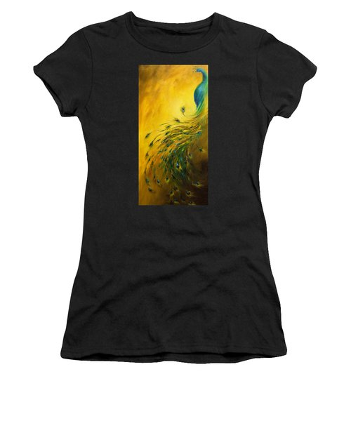 Show Off 1 Vertical Peacock Women's T-Shirt (Athletic Fit)