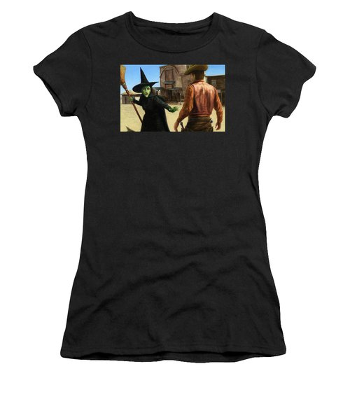 Women's T-Shirt (Junior Cut) featuring the painting Showdown by James W Johnson