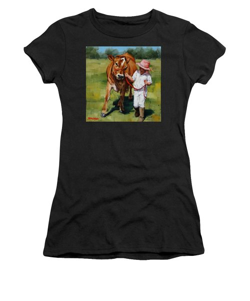 Women's T-Shirt (Junior Cut) featuring the painting Showgirls by Margaret Stockdale