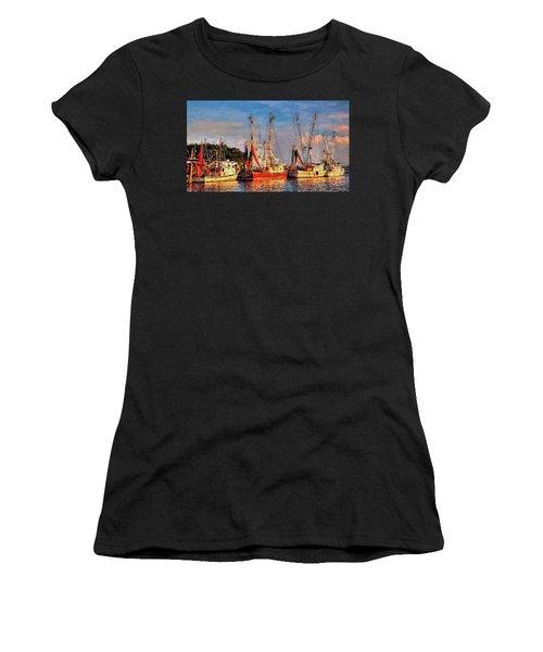 Shrimp Boats Shem Creek In Mt. Pleasant  South Carolina Sunset Women's T-Shirt