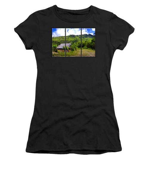 Women's T-Shirt (Junior Cut) featuring the photograph Shuar Hut In The Amazon by Al Bourassa