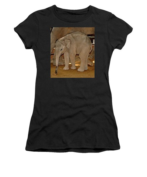 Shy Baby Elephant Women's T-Shirt (Athletic Fit)