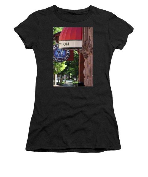 Sidewalk View Jazz Station  Women's T-Shirt (Athletic Fit)