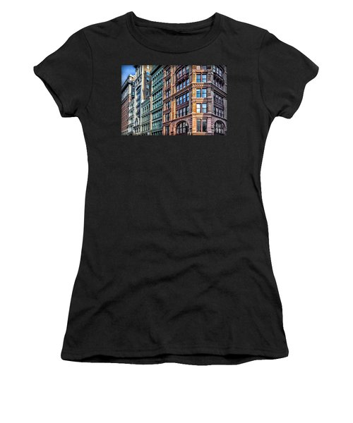 Women's T-Shirt (Junior Cut) featuring the photograph Sights In New York City - Colorful Buildings by Walt Foegelle