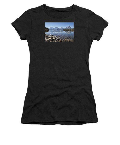 Women's T-Shirt (Junior Cut) featuring the photograph Jackson Lake  Near Signal Mountain Lodge by Shirley Mitchell