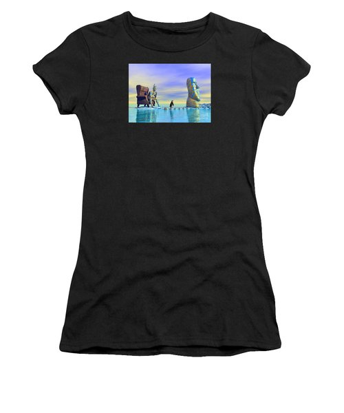 Women's T-Shirt (Athletic Fit) featuring the digital art Silent Mind - Surrealism by Sipo Liimatainen