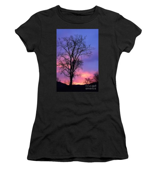 Women's T-Shirt (Junior Cut) featuring the photograph Silhouette At Dawn by Larry Ricker