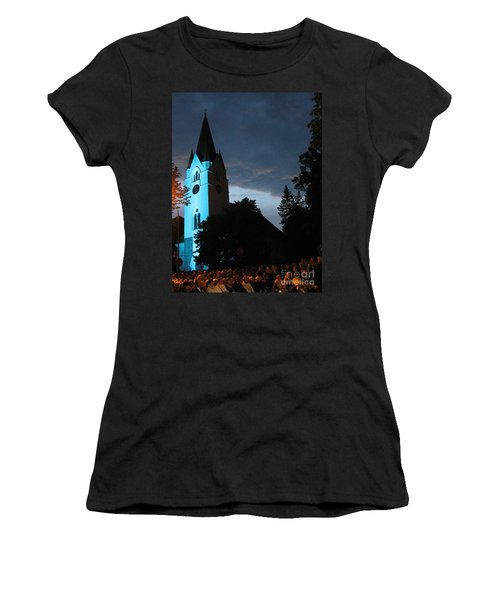 Women's T-Shirt (Athletic Fit) featuring the photograph Silute Lutheran Evangelic Church Lithuania by Ausra Huntington nee Paulauskaite