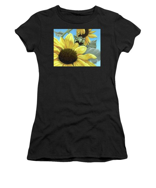 Silver Leaf Sunflower Growing To The Sun Women's T-Shirt
