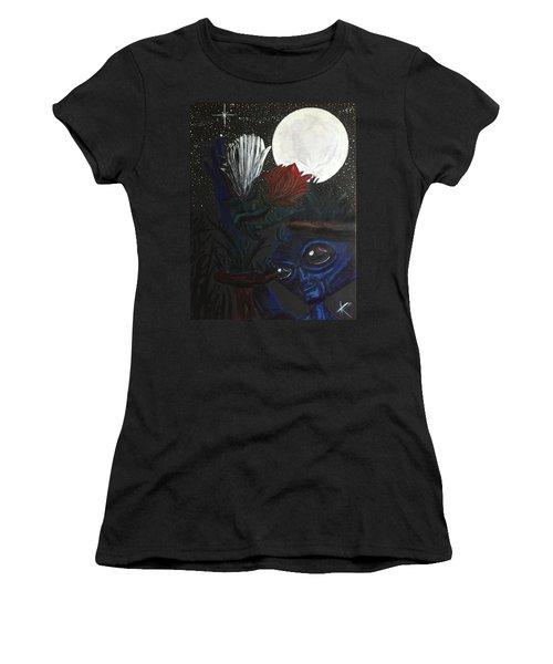 Similar Alien Appreciates Flowers By The Light Of The Full Moon. Women's T-Shirt