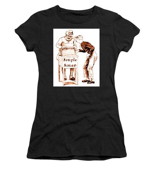 Simple Simon Mother Goose Vintage Nursery Rhyme Women's T-Shirt (Athletic Fit)