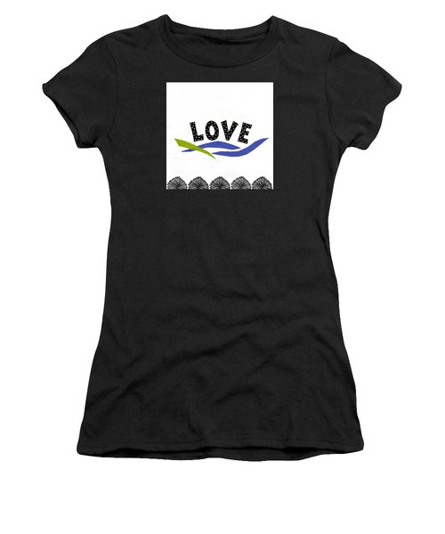 Women's T-Shirt (Junior Cut) featuring the mixed media Simply Love by Gloria Rothrock