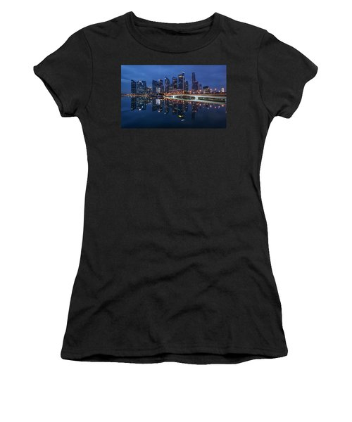 Women's T-Shirt featuring the photograph Singapore Skyline Reflection by Pradeep Raja Prints