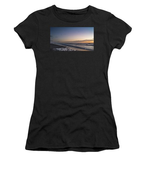 Single Man Walking On Beach With Sunset In The Background Women's T-Shirt