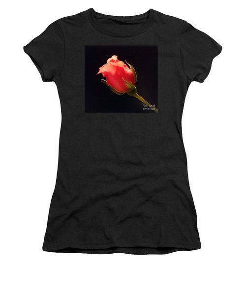 Single Pink Rose Bud Women's T-Shirt