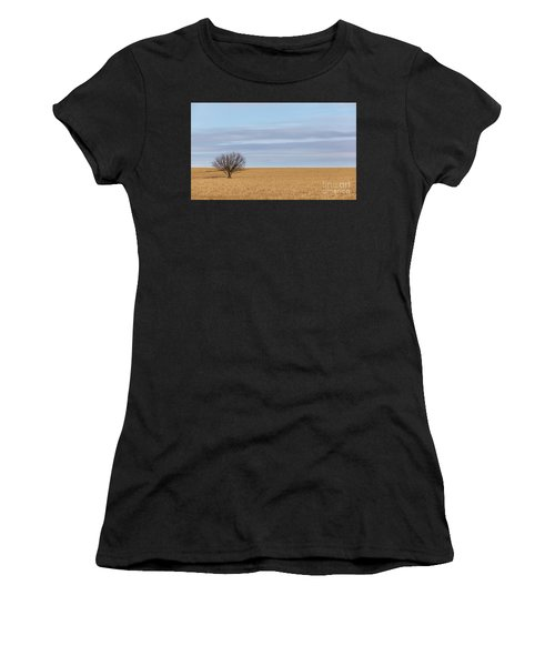 Single Tree In Large Field With Cloudy Skies Women's T-Shirt