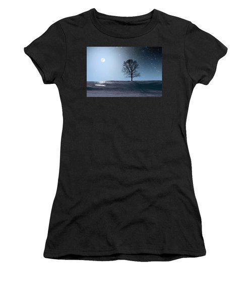 Single Tree In Moonlight Women's T-Shirt
