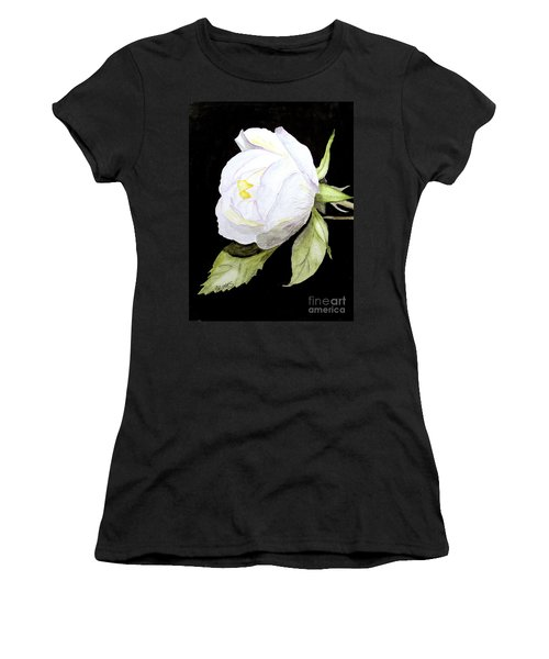 Single White  Bloom  Women's T-Shirt (Athletic Fit)