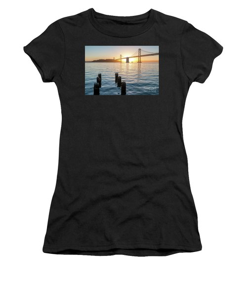 Six Pillars Sticking Out The Water With Bay Bridge In The Backgr Women's T-Shirt