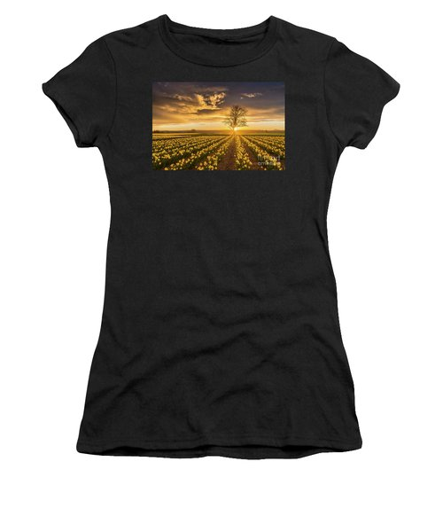 Women's T-Shirt (Junior Cut) featuring the photograph Skagit Valley Daffodils Sunset by Mike Reid