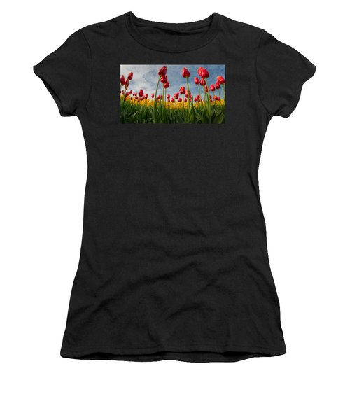 Women's T-Shirt (Junior Cut) featuring the photograph Skagit Valley Spring Joy by Dan Mihai