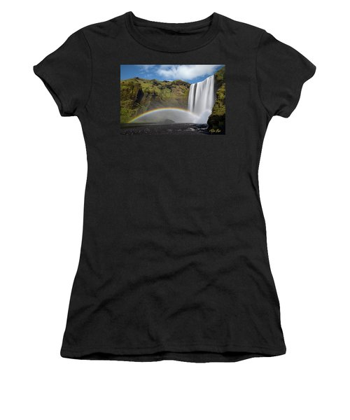 Women's T-Shirt (Athletic Fit) featuring the photograph Skogafoss And Companion Rainbow by Rikk Flohr