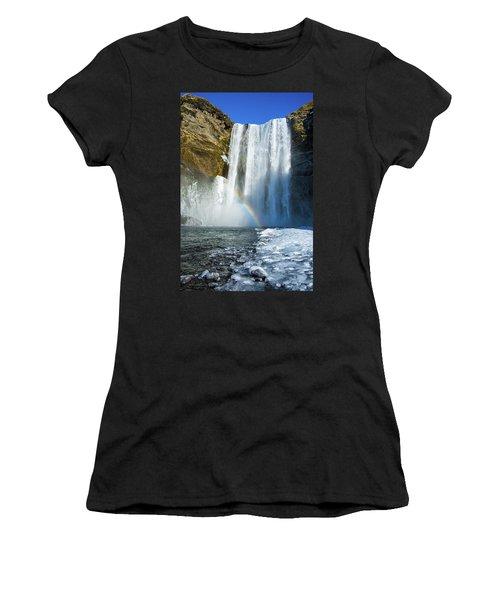 Skogafoss Waterfall Iceland In Winter Women's T-Shirt (Junior Cut) by Matthias Hauser