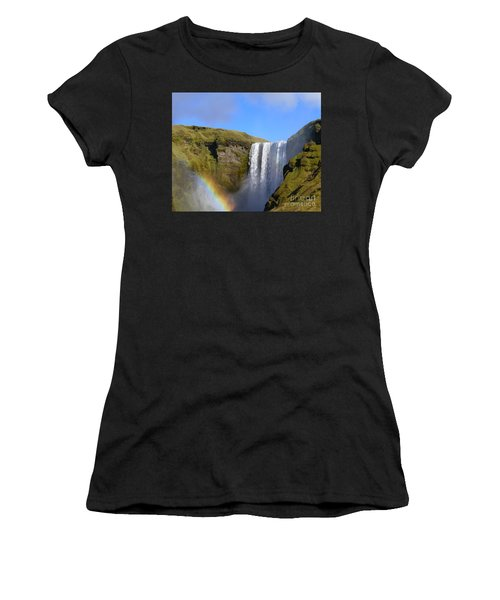 Skogafoss Waterfall With Rainbow 151 Women's T-Shirt (Athletic Fit)