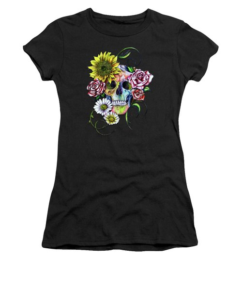 Skull And Flowers Women's T-Shirt (Athletic Fit)