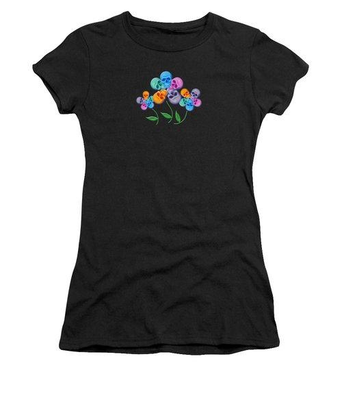 Skull Flowers Women's T-Shirt (Athletic Fit)