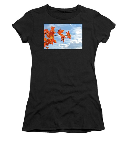 Sky View With Autumn Maple Leaves Women's T-Shirt