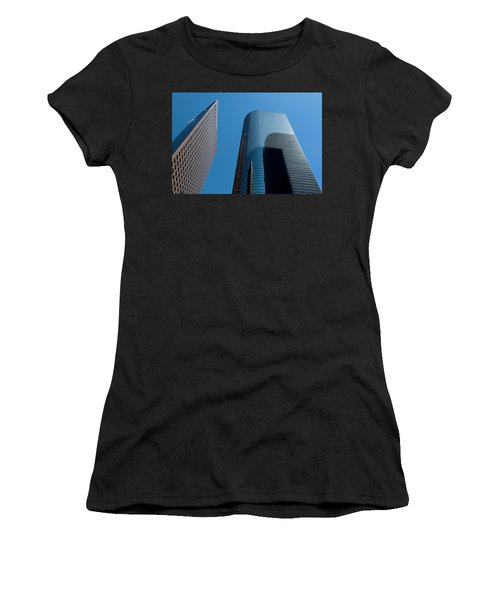 Women's T-Shirt featuring the photograph Skyscrapers Reflect Los Angeles by Lorraine Devon Wilke