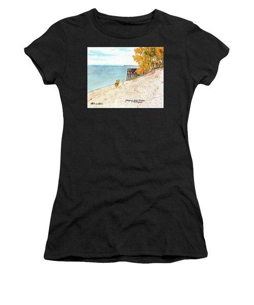 Sleeping Bear Dunes, Sand Dunes, Dune Paintings, Sandy Beaches, Lake Michigan Shoreline Women's T-Shirt (Athletic Fit)