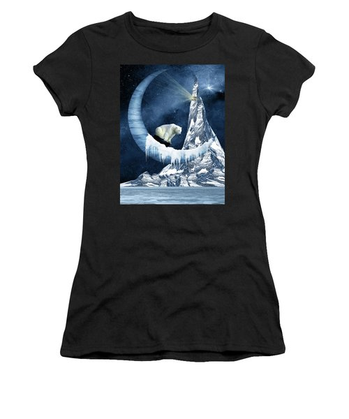 Sliding On The Moon Women's T-Shirt (Athletic Fit)